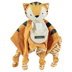 Πανάκι παρηγοριάς βελουτέ σε σχήμα τίγρης με φιόγκους