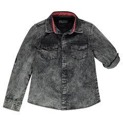 Παιδικά - Μακρυμάνικο τζιν πουκάμισο με ξεβαμμένη όψη