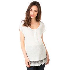 Κοντομάνικη μπλούζα εγκυμοσύνης με βολάν από τούλι