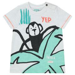 Κοντομάνικη μπλούζα από ζέρσεϊ με τροπικό μοτίβο