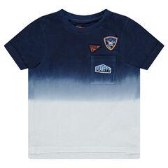 Κοντομάνικη μπλούζα από ζέρσεϊ με όψη ξεβαμμένου