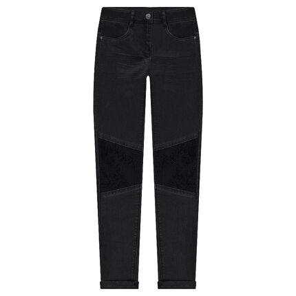 Παντελόνι σε γραμμή slim με τσαλακωμένη όψη και μαύρες πούλιες