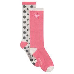 Σετ με 2 ζευγάρια ψηλές κάλτσες με διακοσμητικά ζακάρ μοτίβα