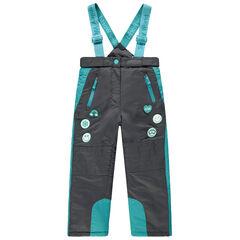 Pantalon de ski imperméable à poches zippées et badges Smiley