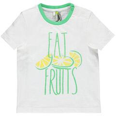 Κοντομάνικη μπλούζα με φρούτα και τυπωμένα γράμματα