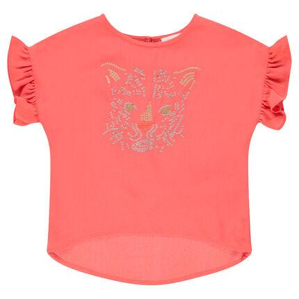 Κοντομάνικη βουάλ μπλούζα με τίγρη και στρας