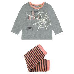 Βελουτέ σύνολο πιτζάμας με στάμπα ιστού αράχνης και κέντημα HALLOWEEN