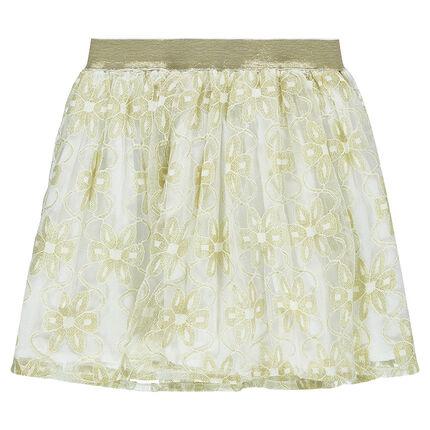 Φούστα με βολάν και χρυσαφί λουλούδια από δαντέλα