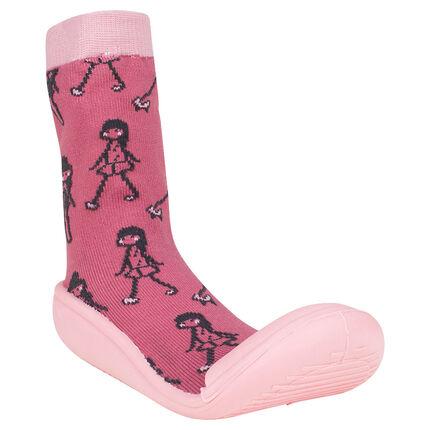 Chaussons chaussettes imprimés fantaisie et semelle en gomme