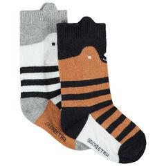 Σετ με 2 ζευγάρια κάλτσες με λύκο και ρίγες ζακάρ