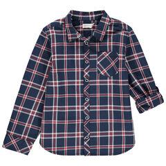Μακρυμάνικο πουκάμισο με καρό σε αντίθεση και τσέπη