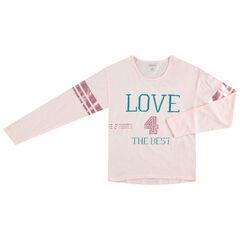Παιδικά - Μακρυμάνικη μπλούζα με τυπωμένες φράσεις και γυαλιστερές λωρίδες