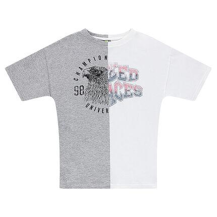 Παιδικά - Κοντομάνικη δίχρωμη μπλούζα από ζέρσεϊ με τύπωμα