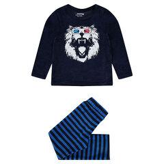 Βελουτέ πιτζάμα με τυπωμένο λιοντάρι