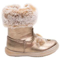 Χρυσαφί χαμηλές μπότες με συνθετική γούνα στο άνοιγμα και κεντημένες λεπτομέρειες