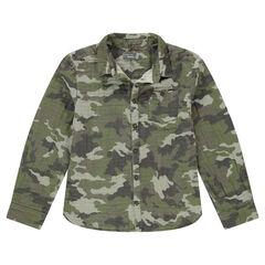 Παιδικά - Βαμβακερό πουκάμισο διπλής όψης με εμπριμέ μοτίβο παραλλαγής