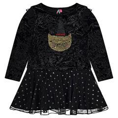 Φόρεμα από δύο υλικά Halloween με στάμπα γάτα και «μαγικές» πούλιες