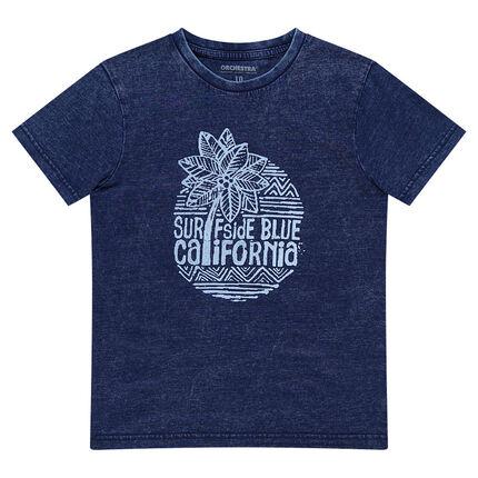 Παιδικά - Κοντομάνικη μπλούζα σε απόχρωση blue jeans με τύπωμα σερφ