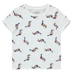 Κοντομάνικη μπλούζα με εμπριμέ μοτίβο σε όλη την επιφάνεια