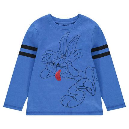 """Μακρυμάνικη μπλούζα με Bugs Bunny της ©Warner/Looney Tunes και """"μαγικές"""" πούλιες"""