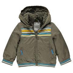Coupe-vent à capuche doublée sherpa avec rayures printées