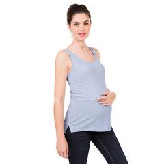 Αμάνικη μονόχρωμη ριμπ μπλούζα εγκυμοσύνης