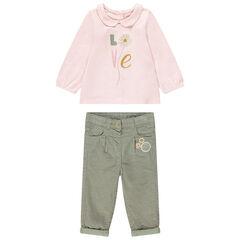 Σύνολο μπλούζα με στρογγυλό γιακά και βελούδο κοτλέ παντελόνι