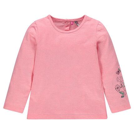 Tee-shirt manches longues en jersey chiné avec print fantaisie