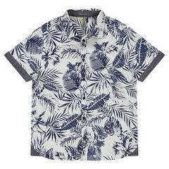 Παιδικά - Κοντομάνικο πουκάμισο με εμπριμέ μοτίβο σε χαβανέζικο στυλ
