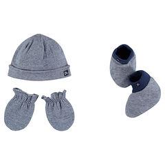 Σετ με σκουφάκι, γάντια και μαλακά παπουτσάκια από ζέρσεϊ