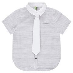 Κοντομάνικο ριγέ πουκάμισο με μονόχρωμη αφαιρούμενη γραβάτα