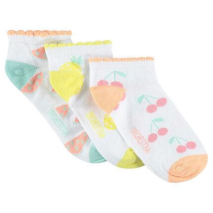 Σετ με 3 ζευγάρια κοντές κάλτσες με φρούτα σε ζακάρ