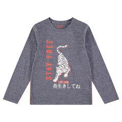 Παιδικά - Μακρυμάνικη μπλούζα από ζέρσεϊ μελανζέ με τίγρη και τυπωμένα κείμενα