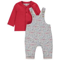 Σύνολο κόκκινη μπλούζα και σαλοπέτα με εμπριμέ μοτίβο αρκουδάκια