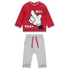 Σύνολο φούτερ με στάμπα Μίκυ της Disney και παντελόνι από μελανζέ φανέλα
