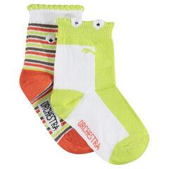 Σετ 2 ζευγάρια ασορτί κάλτσες με φαντεζί τελείωμα
