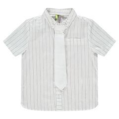 Κοντομάνικο βαμβακερό πουκάμισο με ρίγς και γραβάτα