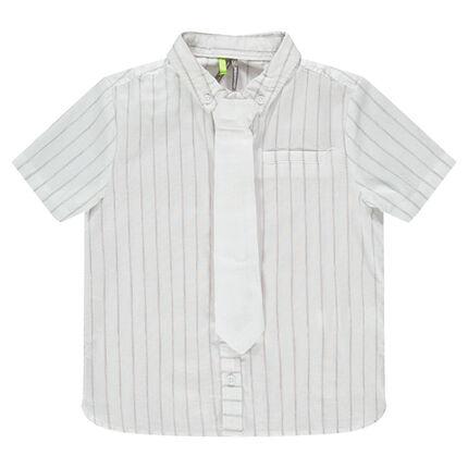 Κοντομάνικο βαμβακερό πουκάμισο με ρίγες και γραβάτα
