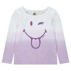 Μακρυμάνικη μπλούζα με εφέ tie & dye και στάμπα ©Smiley με βιολετί παγιέτες