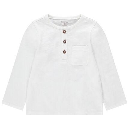 Μακρυμάνικη μπλούζα από ζέρσεϊ slub ύφασμα με πλακέ τσέπη