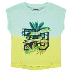 Κοντομάνικη μπλούζα από ζέρσεϊ tie & dye με διακοσμητική στάμπα