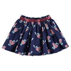 Φούστα με λάστιχο στη μέση και βολάν με μοτίβο πουλιά