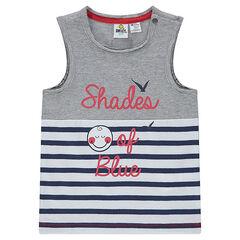 Αμάνικο μπλουζάκι από ζέρσεϊ ©Smiley με ρίγες και τυπωμένο μήνυμα