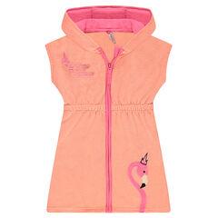 Φόρεμα με κουκούλα από πετσετέ ύφασμα με κεντημένο ροζ φλαμίνγκο