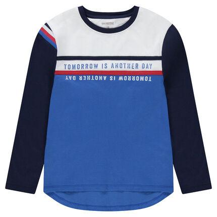 Παιδικά - Μακρυμάνικη μπλούζα από ζέρσεϊ με τυπωμένες φράσεις