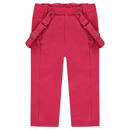 Μονόχρωμο βαμβακερό παντελόνι με ελαστάνη και αφαιρούμενες τιράντες