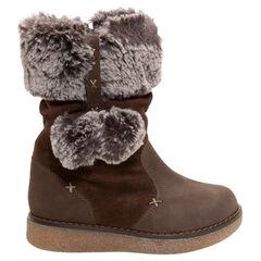 Δερμάτινες μπότες από δύο υλικό με συνθετική γούνα στο άνοιγμα και στις φουντίτσες