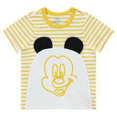 Κοντομάνικη ζέρσεϊ μπλούζα με ρίγες και στάμπα Μίκυ της Disney