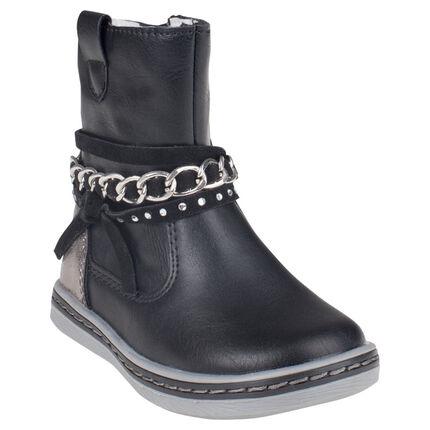 Bottines noires à zip avec brides et chaine