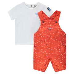 Κοντομάνικη μπλούζα με κοντή εμπριμέ σαλοπέτα